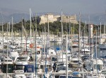 Antibes harbour and Fort Carre, Antibes, Alpes Maritimes, Provence, Cote d'Azur, French Riviera, France, Mediterranean, Europe